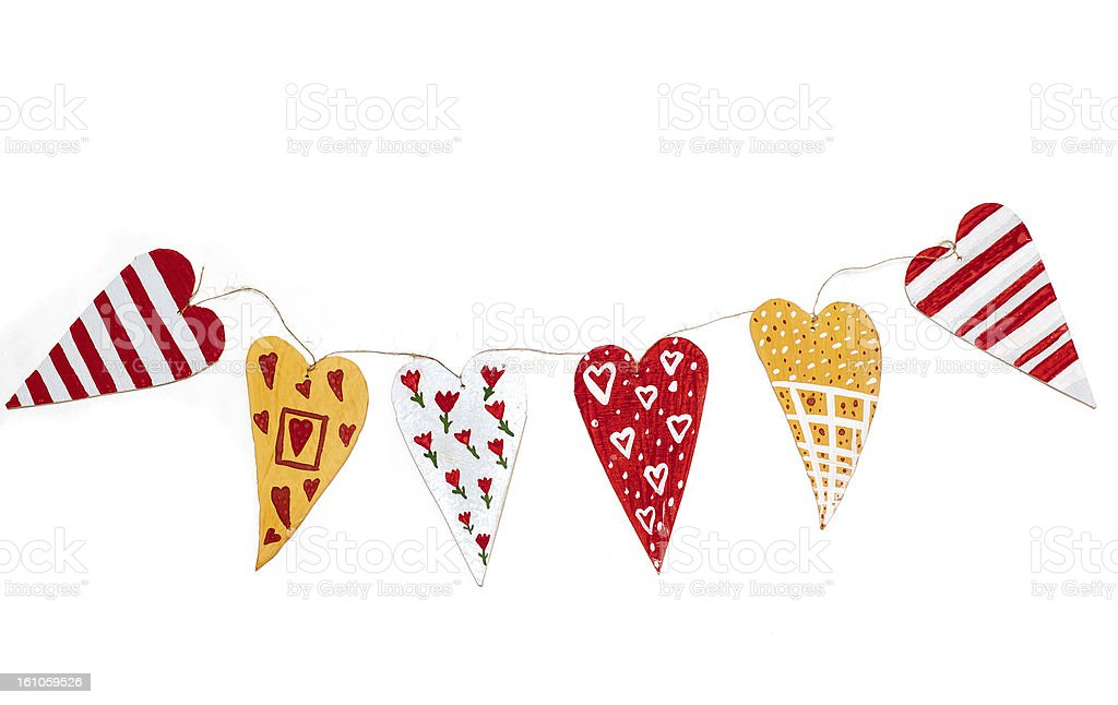 garland of homemade wooden hearts royalty-free stock photo