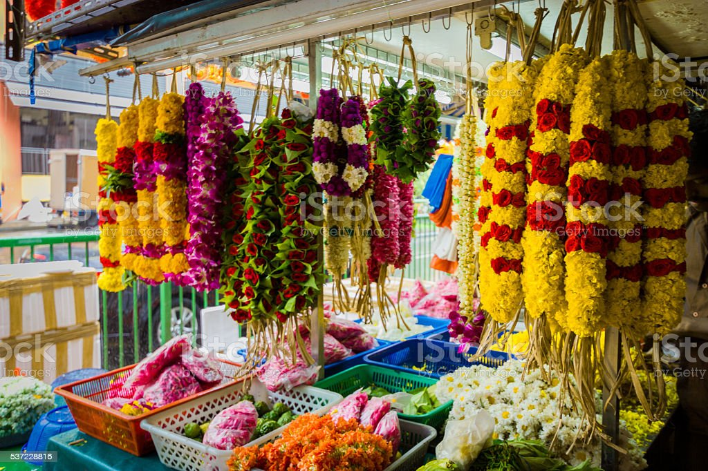 Garlands in Little India stock photo