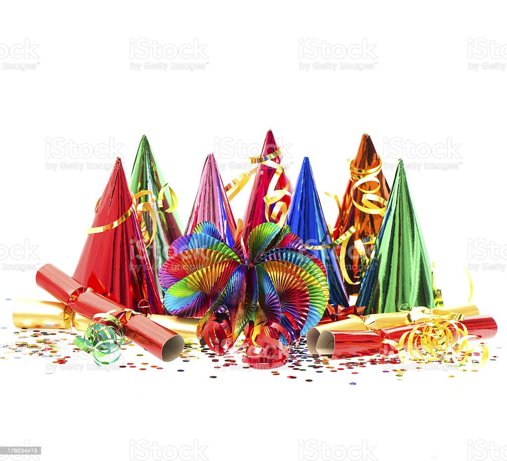 garlands, streamer, party hats and confetti royalty-free stock photo