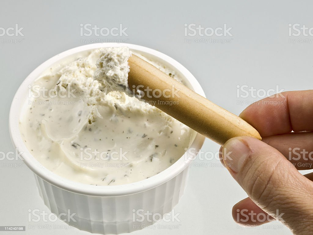 Garlic and herbs cheese spread stock photo