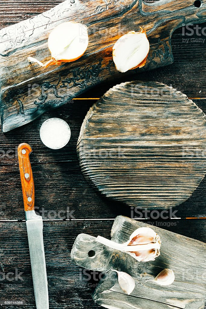 Garlic and onion on wood boards stock photo