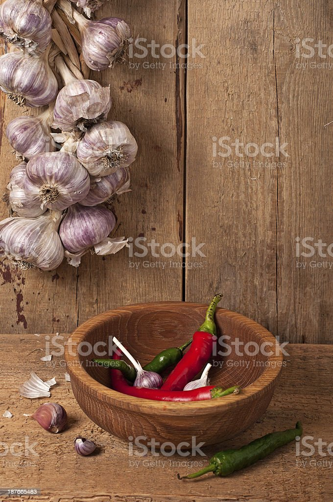Garlic and pepper royalty-free stock photo