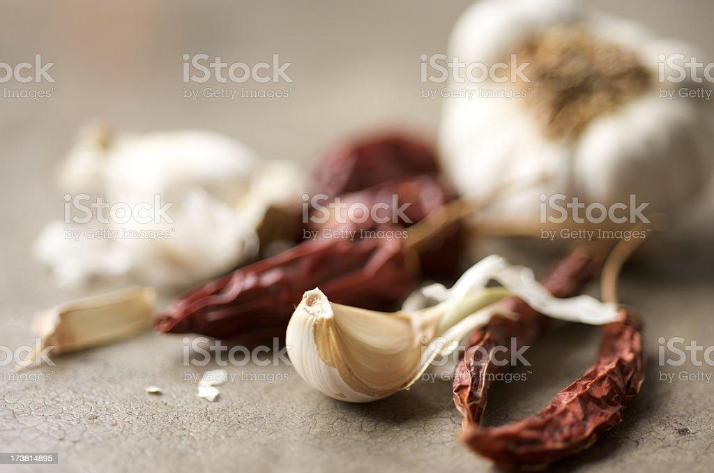 Garlic and red chili pepper stock photo
