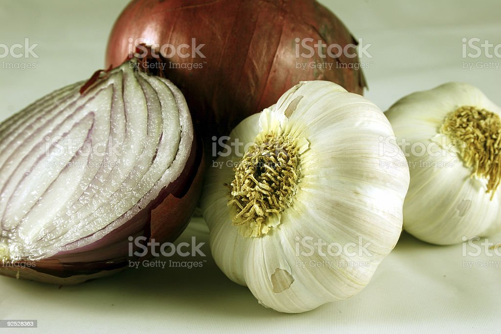 Garlic and Red Onions stock photo
