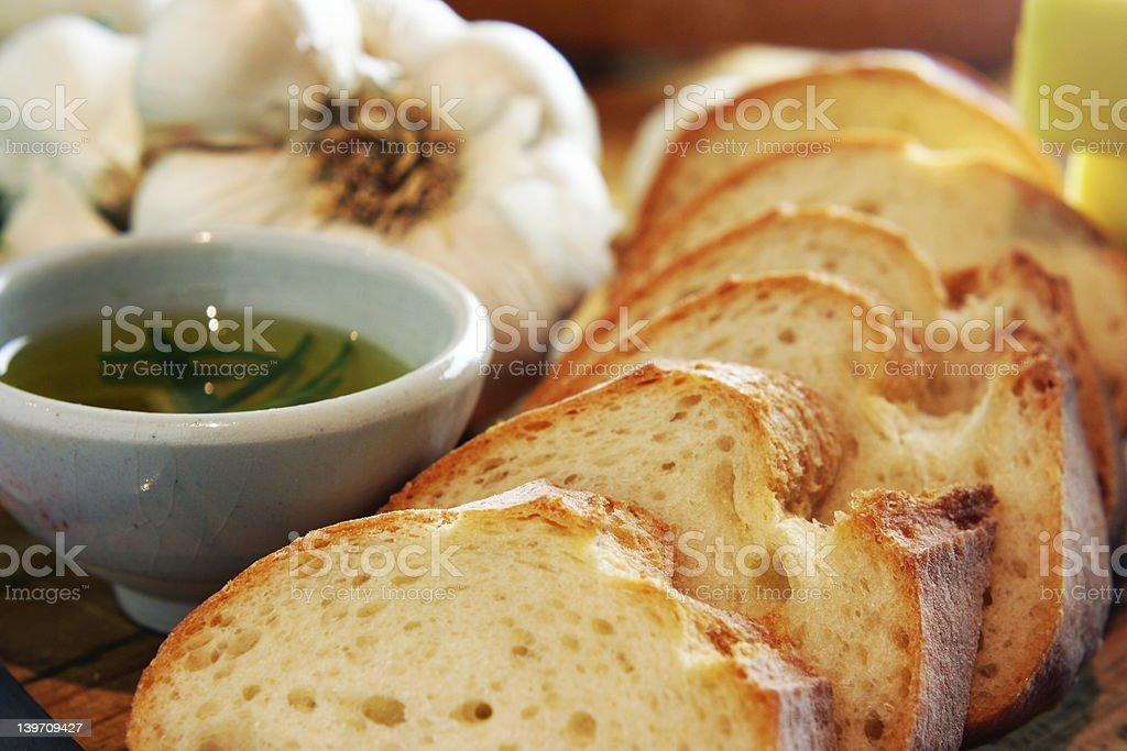 Garlic bread and rosemary oil stock photo