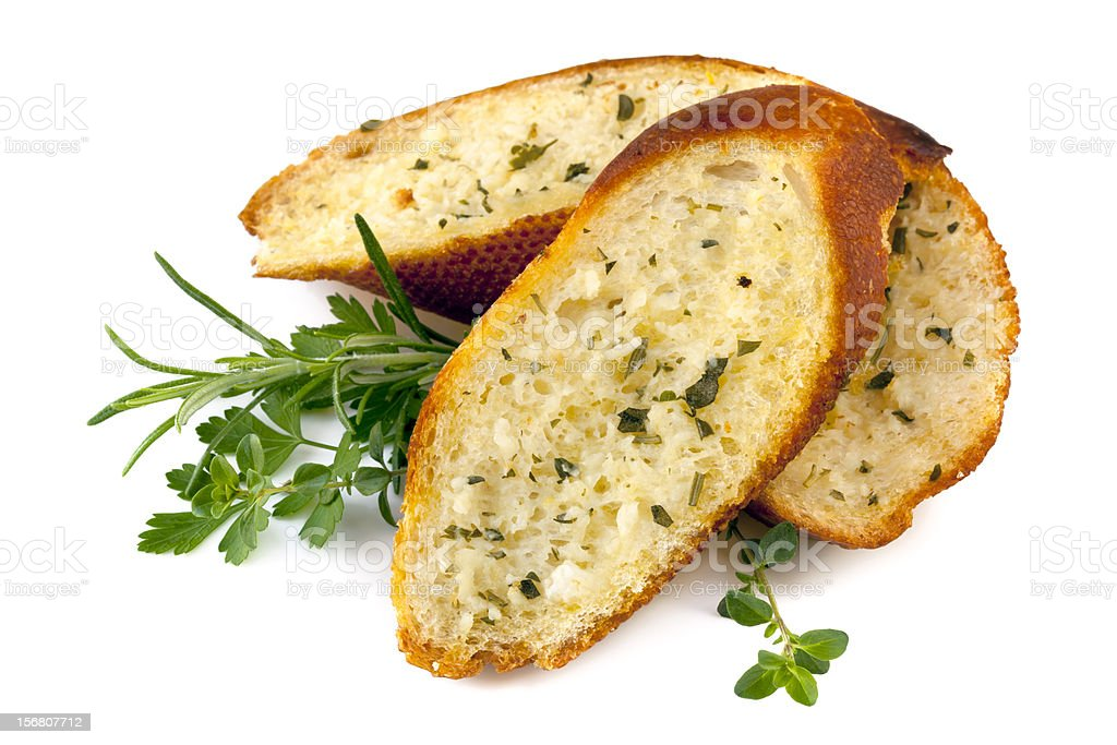 Garlic Bread with Herbs Isolated stock photo