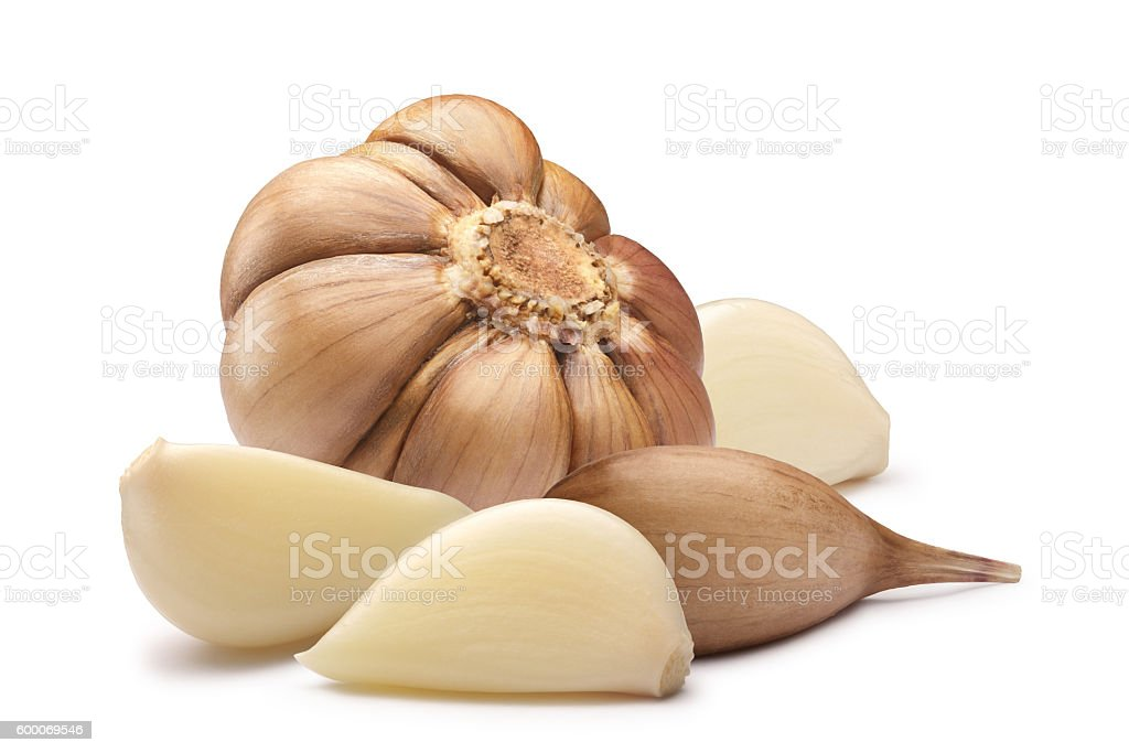 Garlic bulb and cloves, paths stock photo