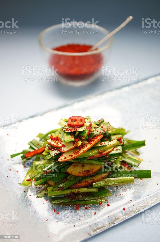 Garlic Chive Salad (Buchu Muchim) stock photo