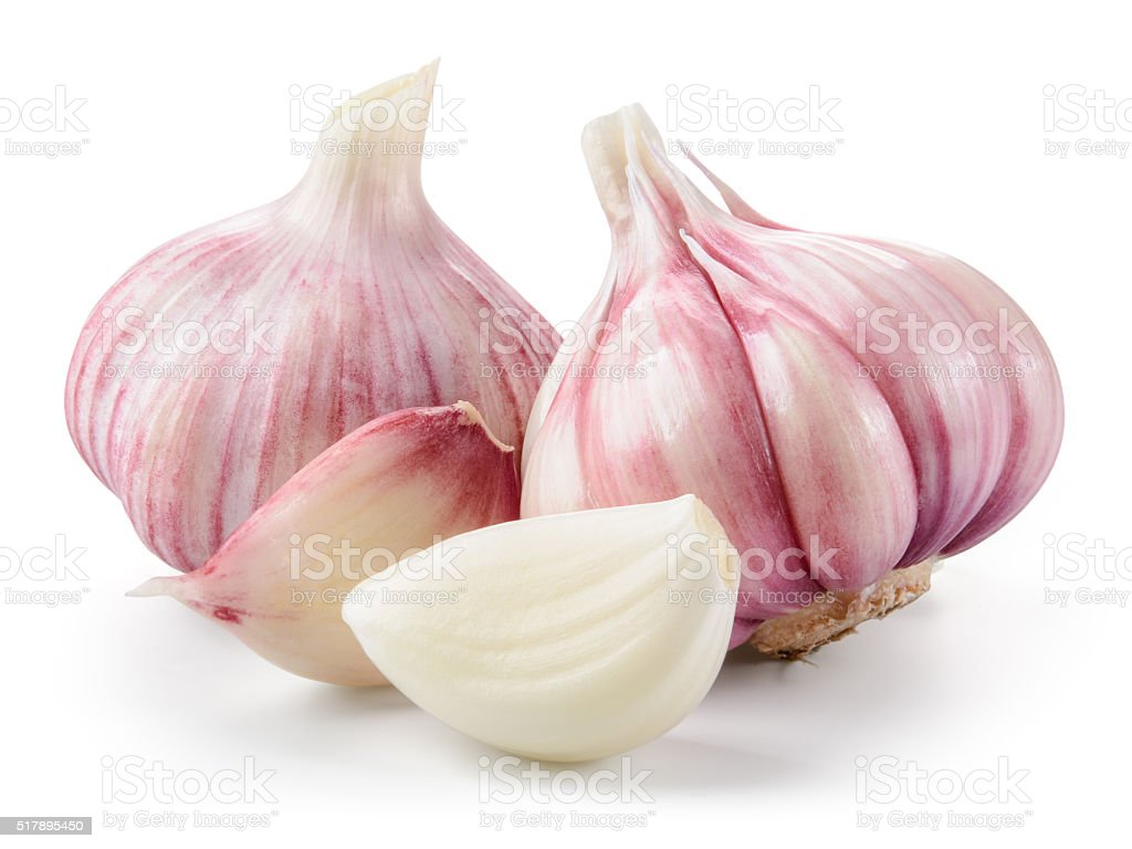 Garlic closeup isolated on white background. With clipping path. stock photo