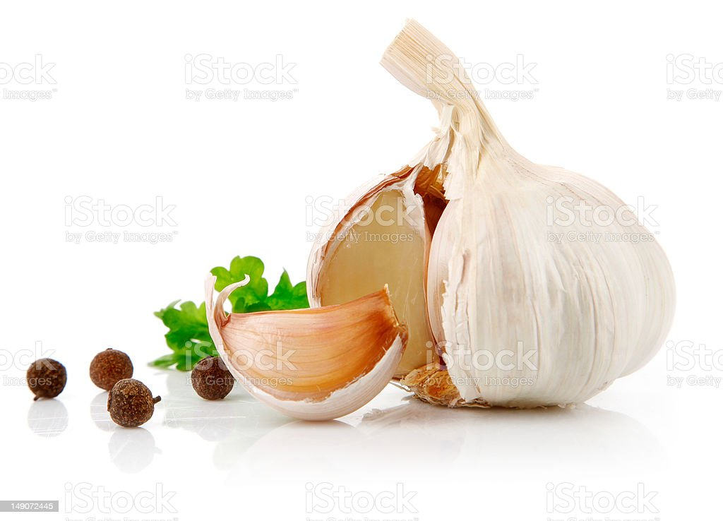 garlic fruit with parsley spice stock photo
