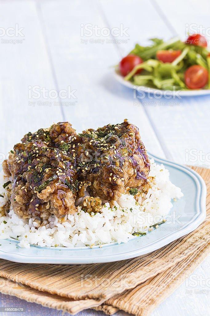 Garlic Furikake Chicken stock photo