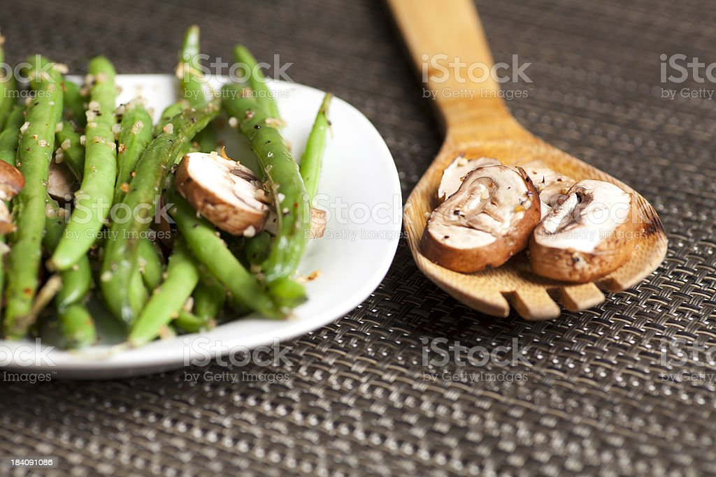 Garlic green beans with mushrooms royalty-free stock photo