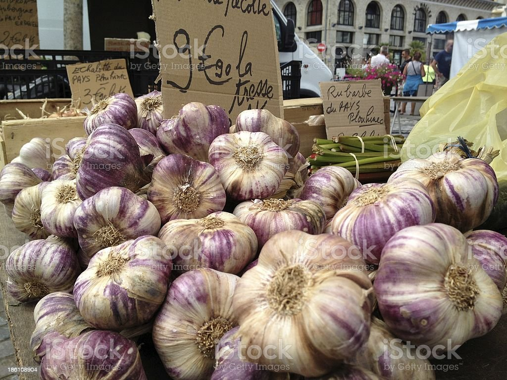 Garlic In A French Market royalty-free stock photo