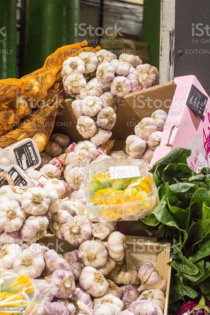 Garlic in Borough Market, London stock photo