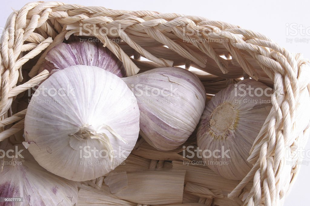 Garlic in the basket royalty-free stock photo