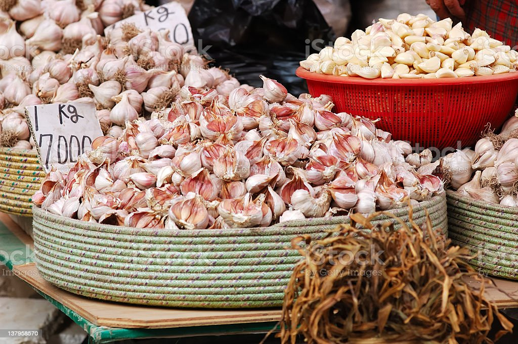 Garlic market royalty-free stock photo
