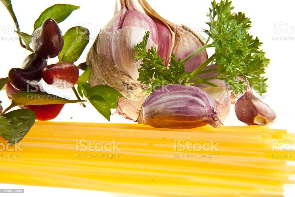 Чеснок, масло чили и тонкие Стоковые фото Стоковая фотография
