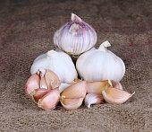 garlic on a hemp sack