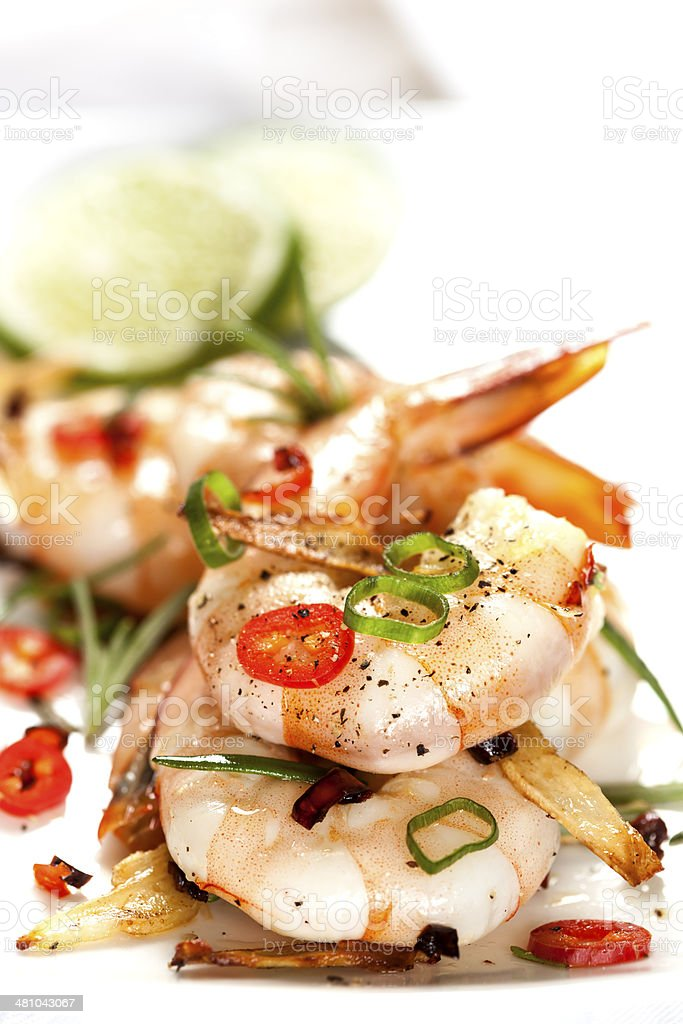 Garlic Prawns with Chili stock photo