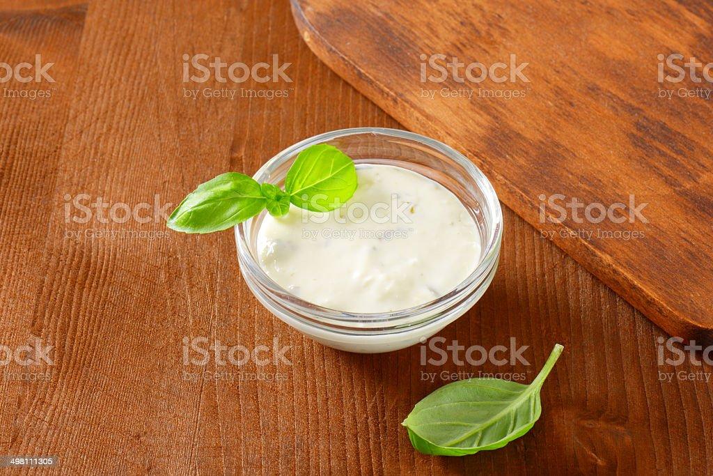 garlic sauce stock photo