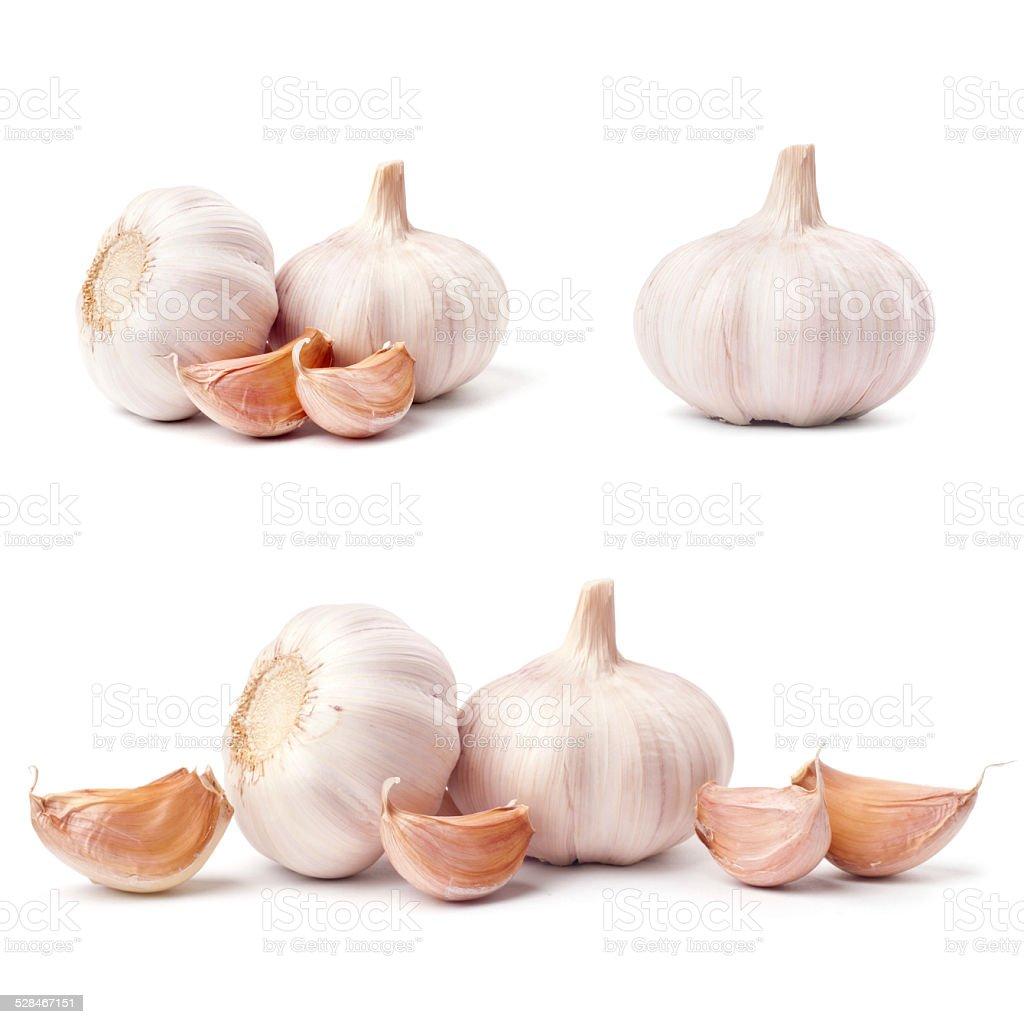 Garlic set isolated on white background stock photo