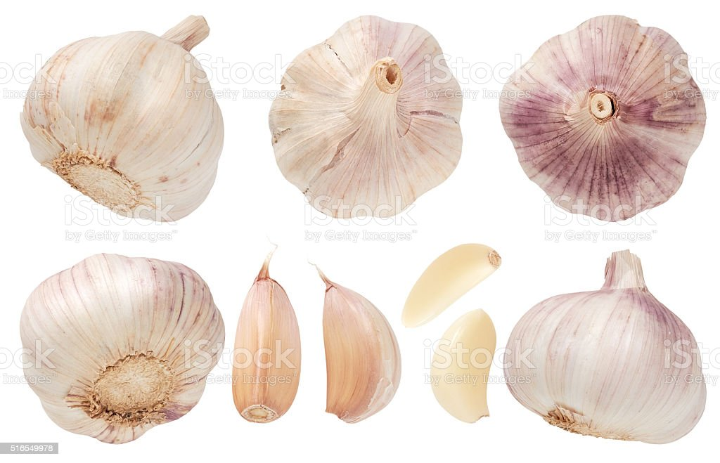 Garlic set isolated on white background. Top view. stock photo