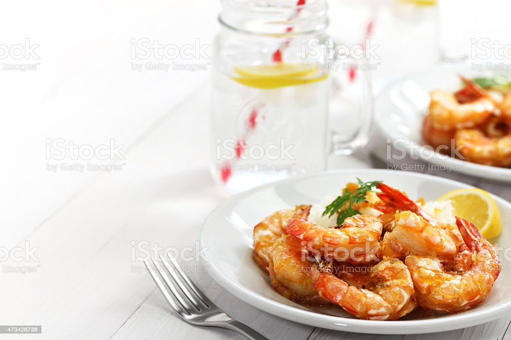garlic shrimp, hawaiian food stock photo