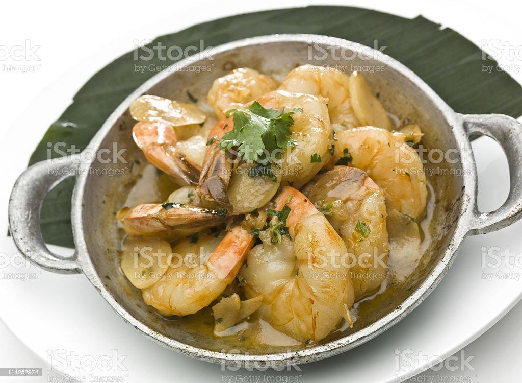 Garlic Shrimp Scampi  (gambas al ajillo) stock photo