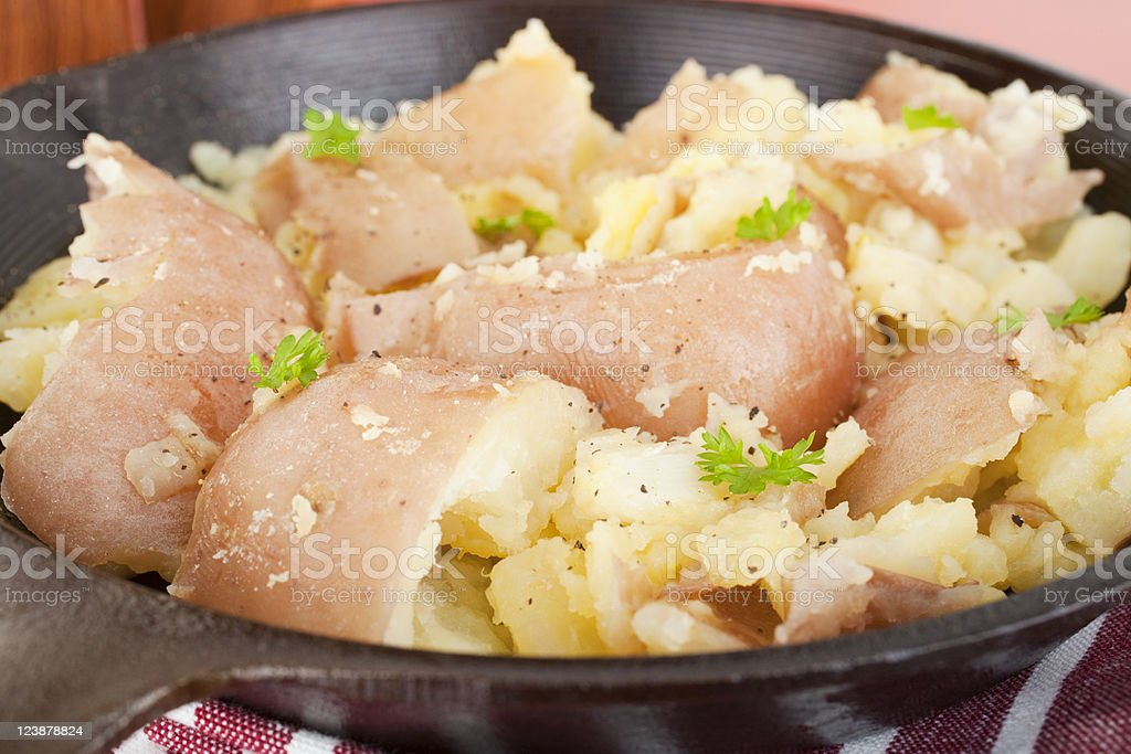 Garlic Smashed Potato stock photo