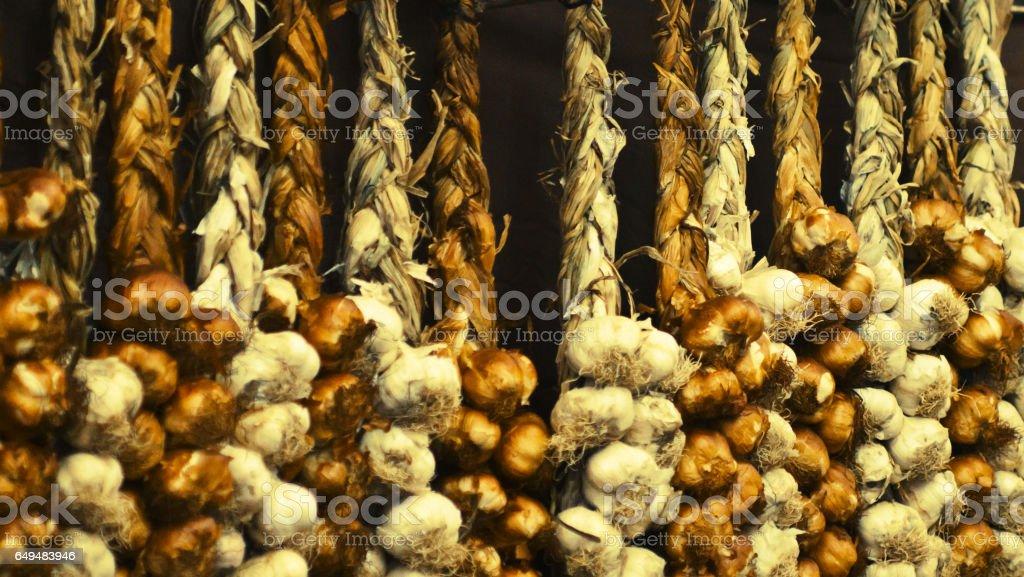 Garlic strings stock photo