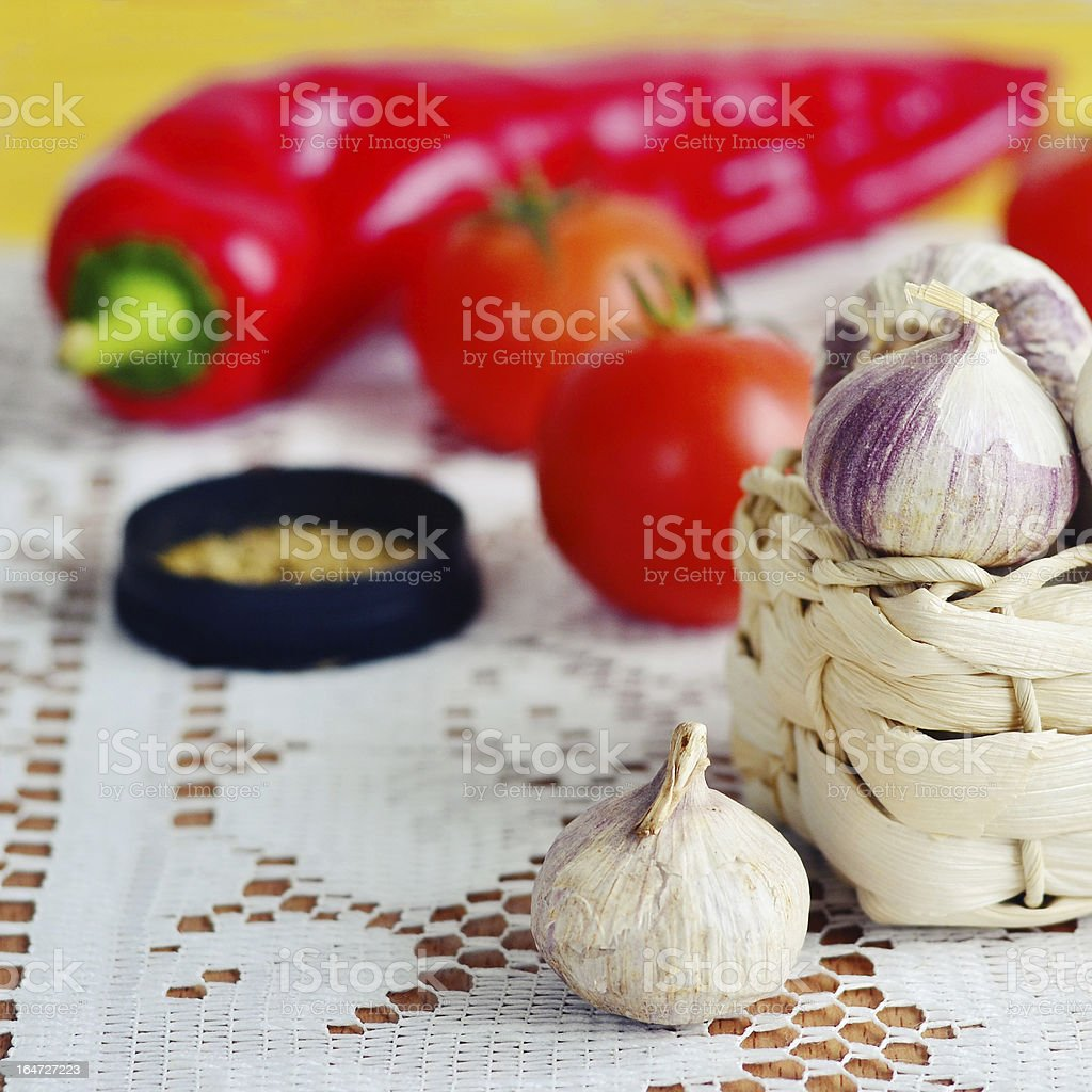 Garlic, tomato, pepper and species royalty-free stock photo