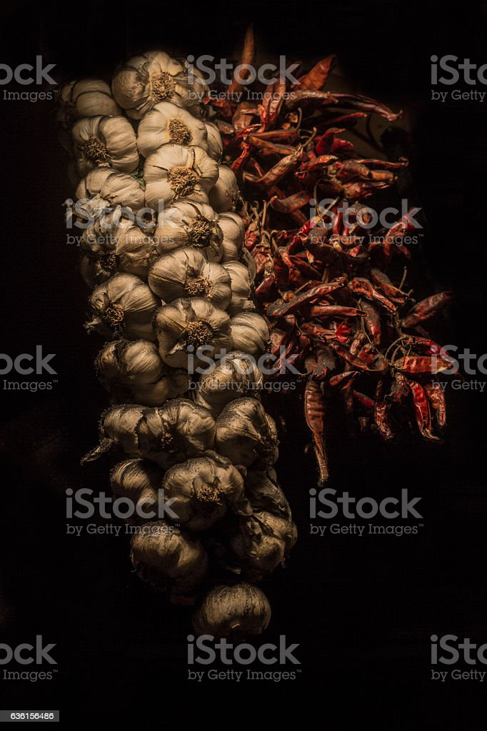 Garlic with pepper stock photo