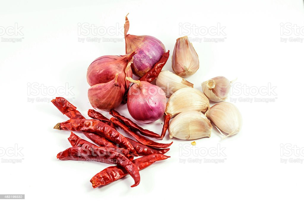 Garlic,onions and Dried chillies stock photo