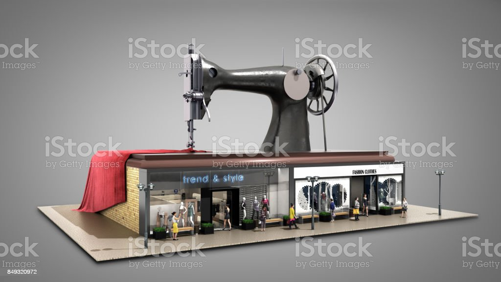 garment industry a concept for the production of branded clothes sewing machine is on the roofs of boutiques 3d render on white stock photo