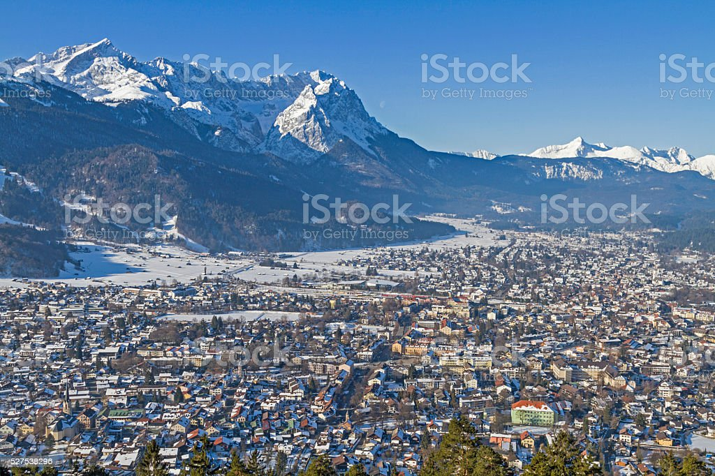 Garmisch and Zugspitze stock photo