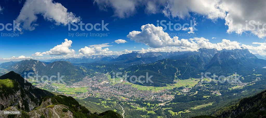 Garmisch - Partenkirchen at sunny day, Germany stock photo