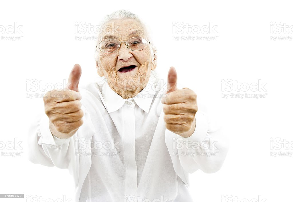 garndma showing thumbs up stock photo