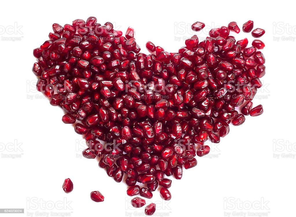 garnet fruit berries heart stock photo
