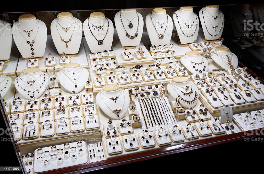 Garnet jewelry shop royalty-free stock photo
