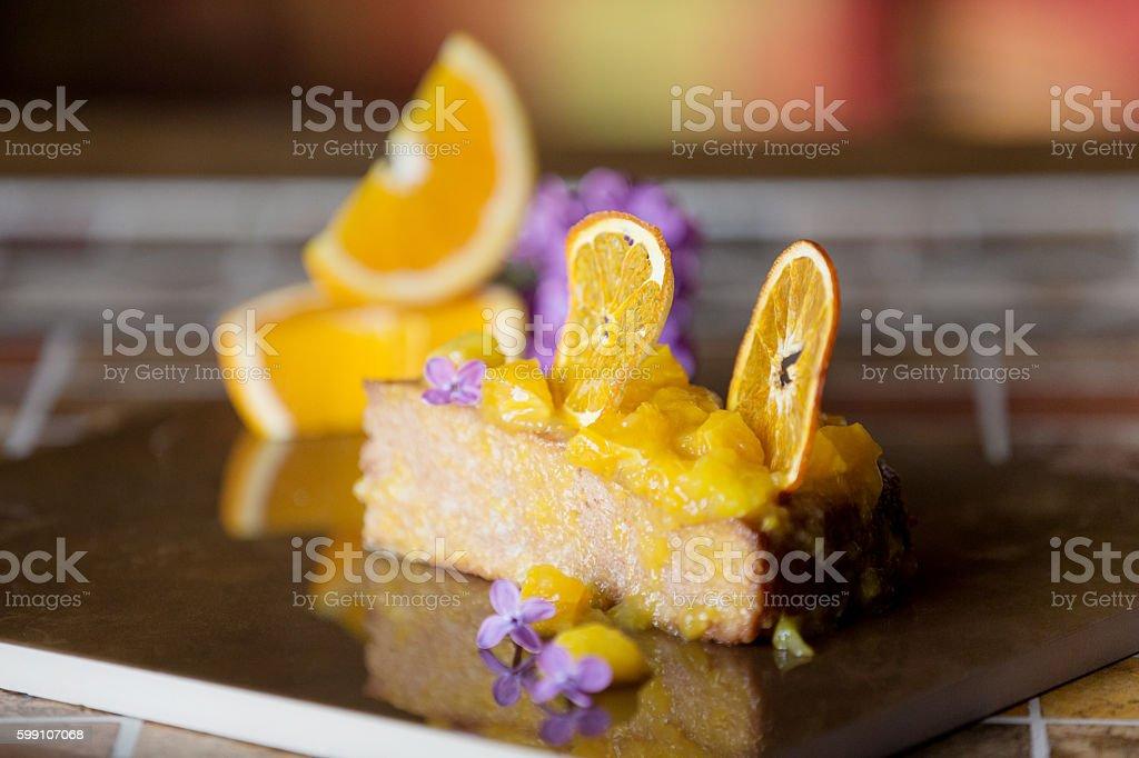 Garnished sponge cake stock photo