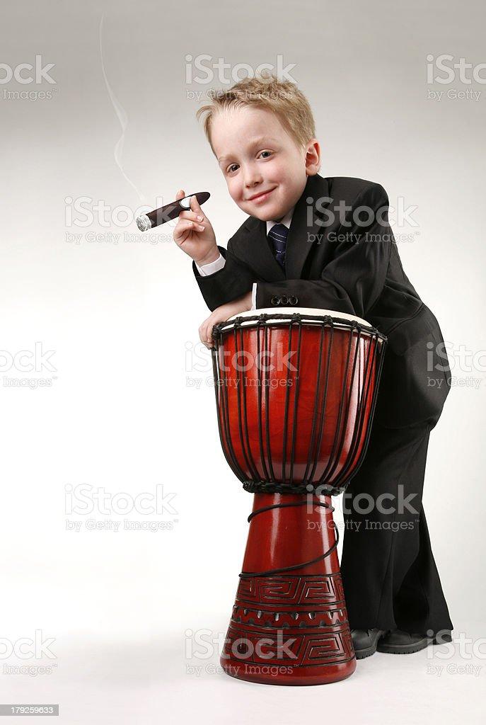 Garçon au cigare stock photo