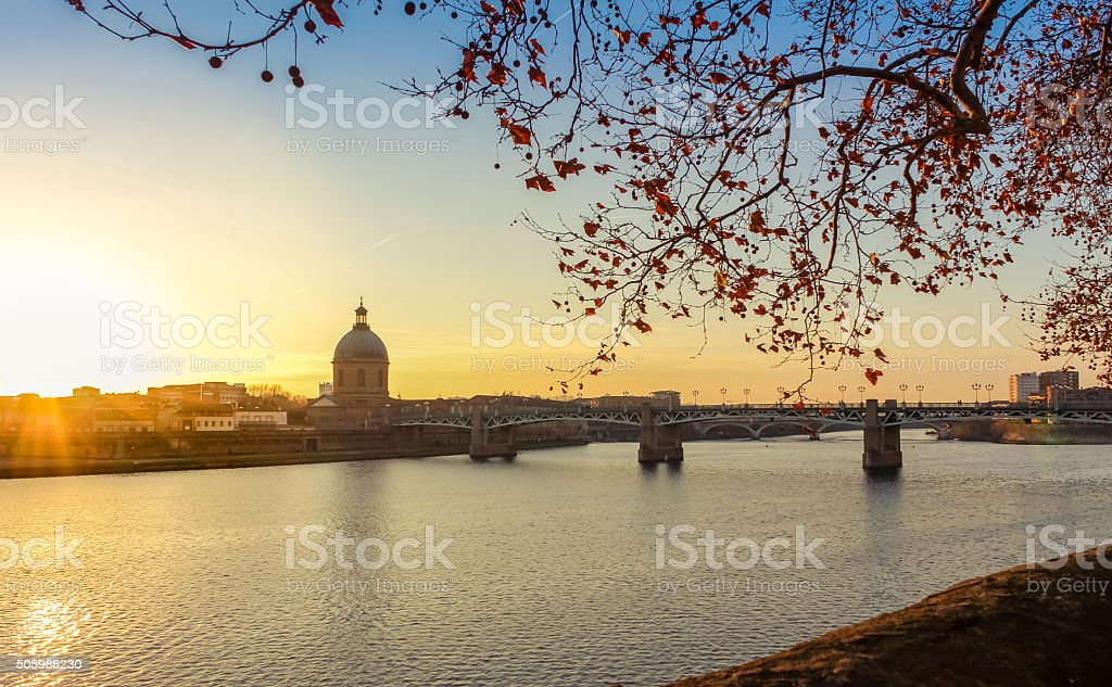 Garonne Riverside in Toulouse – France at the sunset stock photo