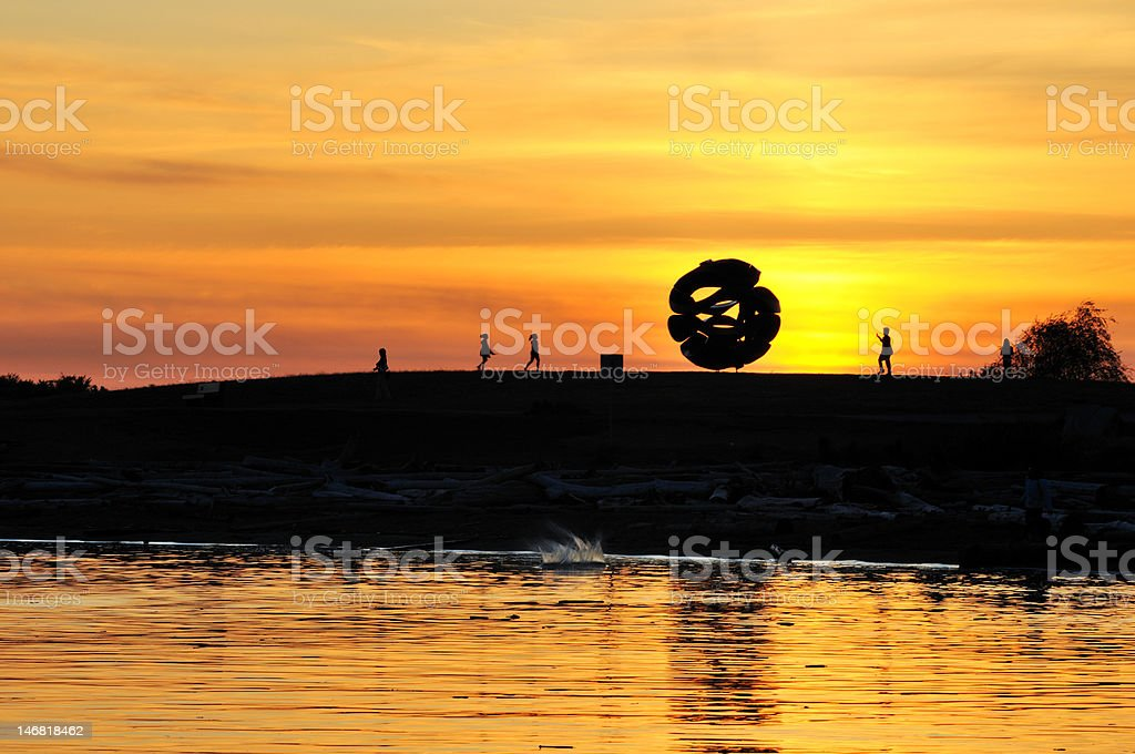 Garry Point park sunset, Richmond, BC stock photo