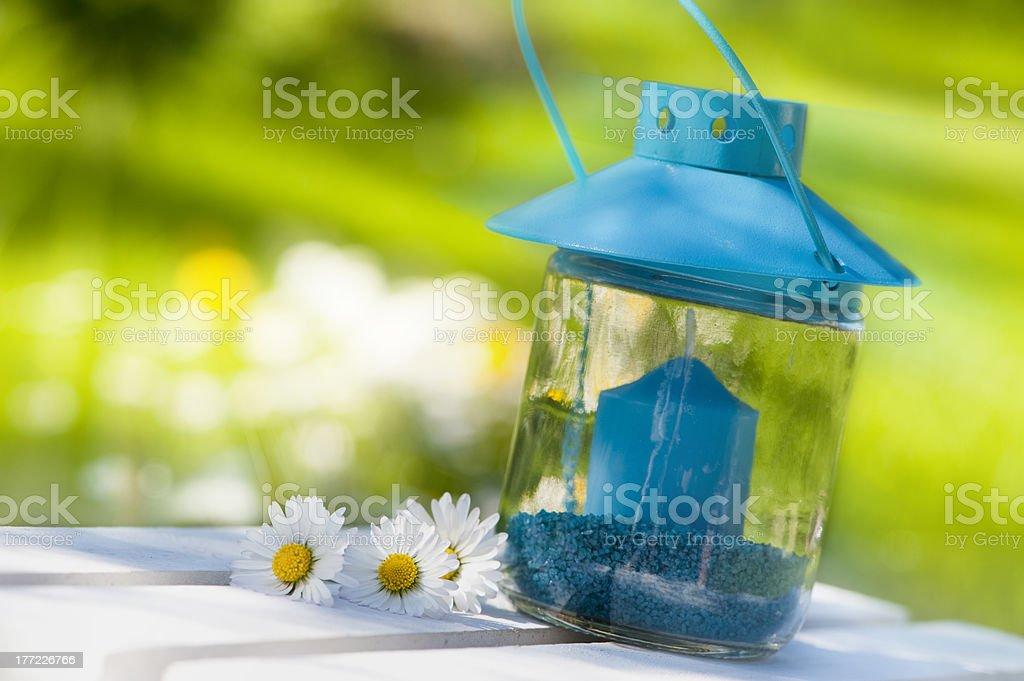 Garten lantern with daisy flowers stock photo