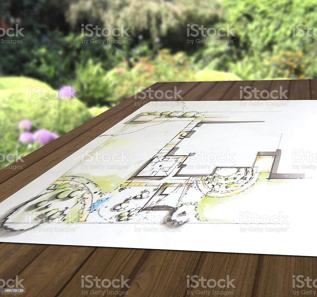 Gartenplanung - Entwurfszeichnung auf Holztisch stock photo