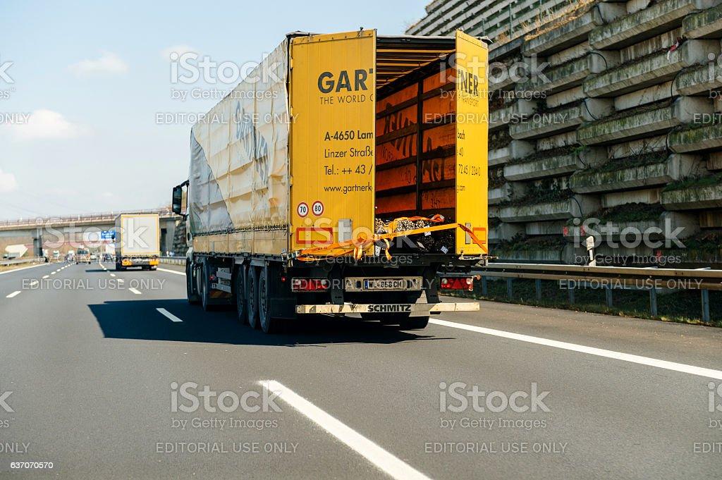 Gartner Speditions truck on highway stock photo