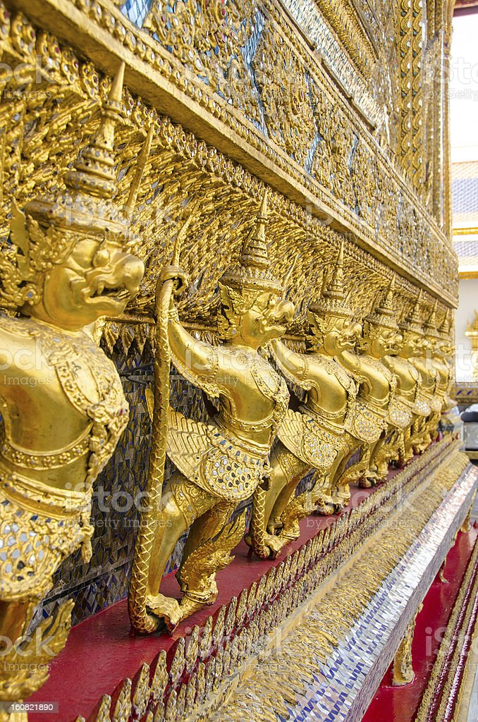 Garuda and Nagas, Wat Phra Kaew, Bangkok, Thailand royalty-free stock photo