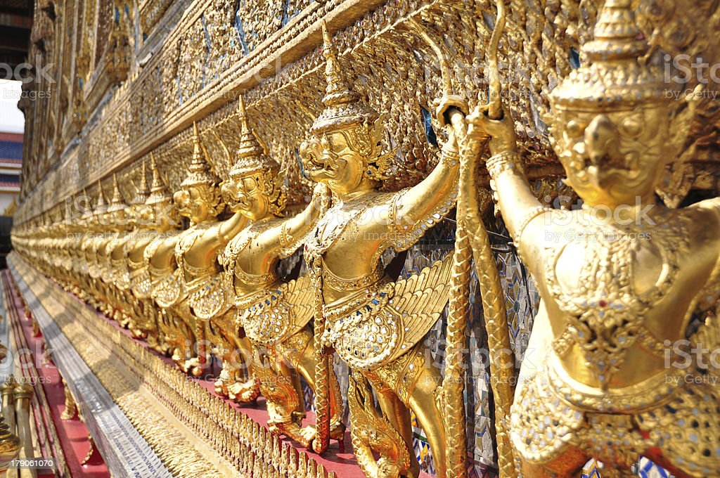 Garuda statue shoulder the monastery, Wat Phra Keaw royalty-free stock photo