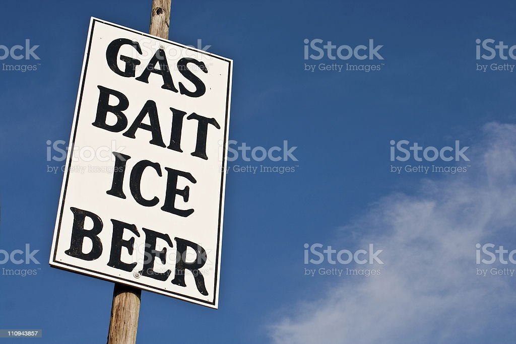 Gas Bait Ice Beer Sign royalty-free stock photo