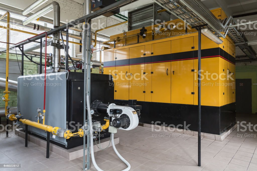 Gas boiler and gas engine stock photo